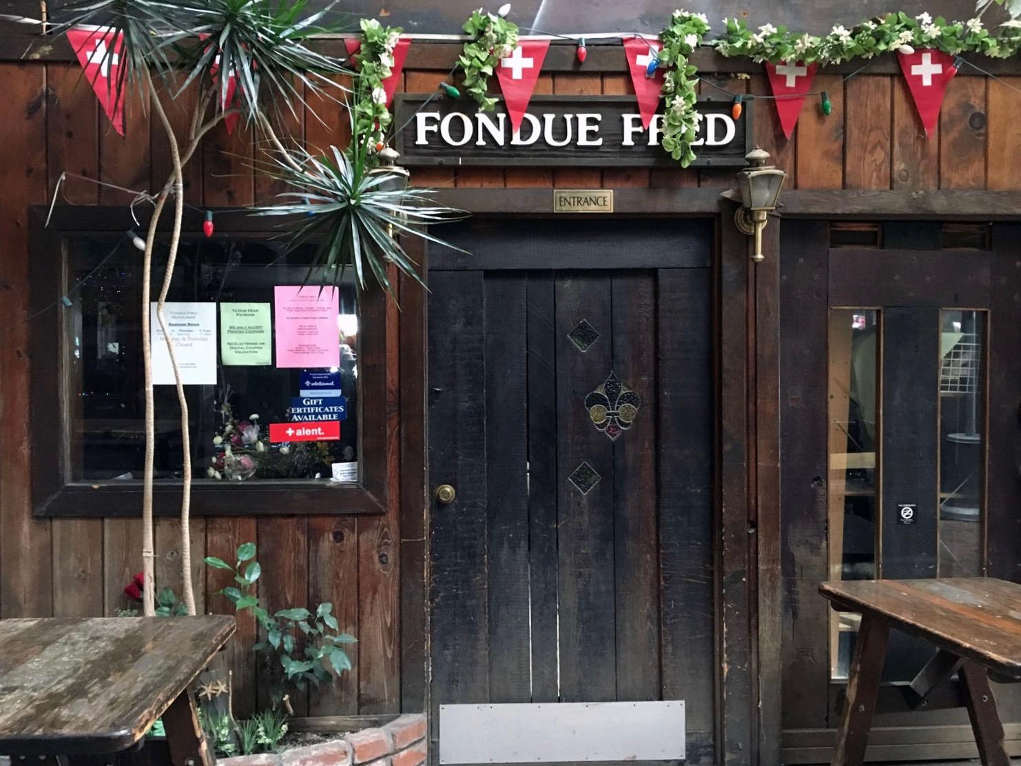 The entrance to Berkeley's Fondue Fred restaurant inside The Village.