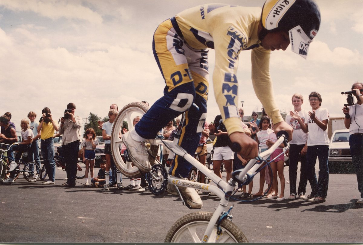 Rich Avella, at age 18 in the '80s, doing a nose wheelie in Denver.