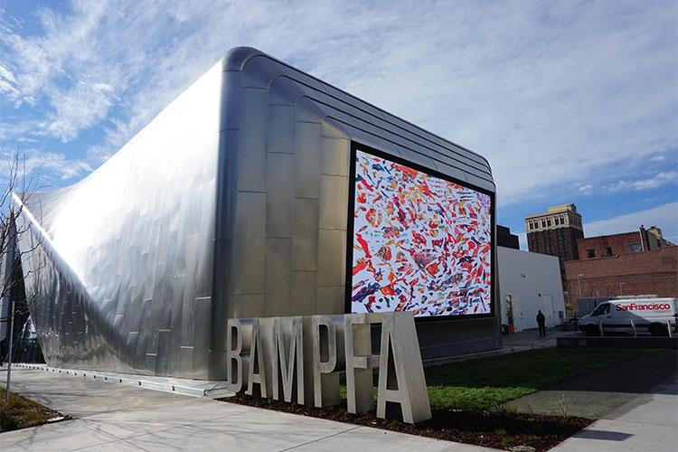 outdoor film screen of Berkeley Art Museum