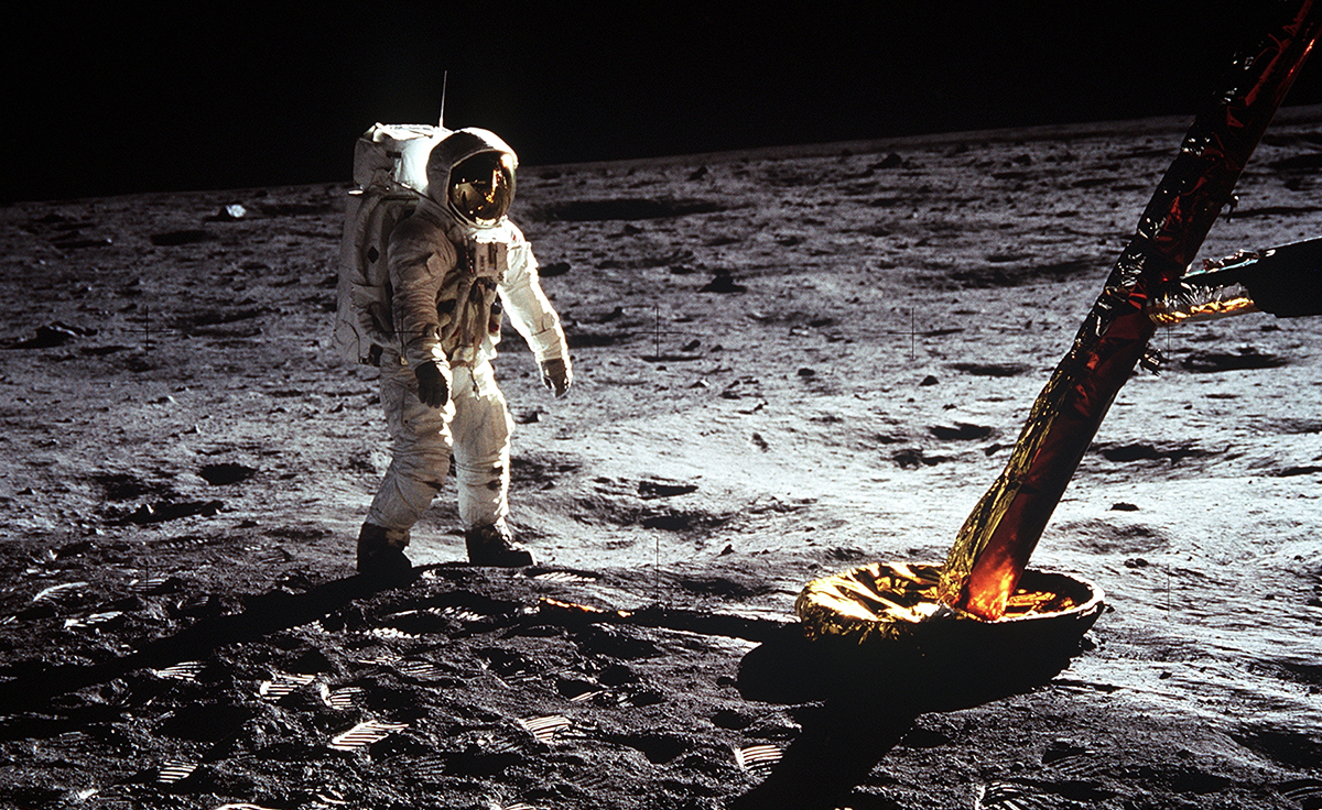 Buzz Aldrin on the moon during the Apollo 11 mission