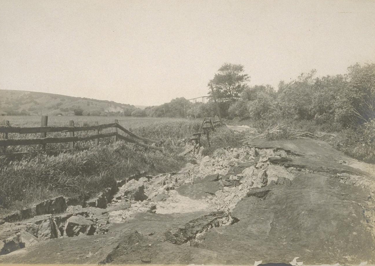 A road in the east bay after the 1868 Earthquake. (source unknown, courtesy of Richard Schwartz)