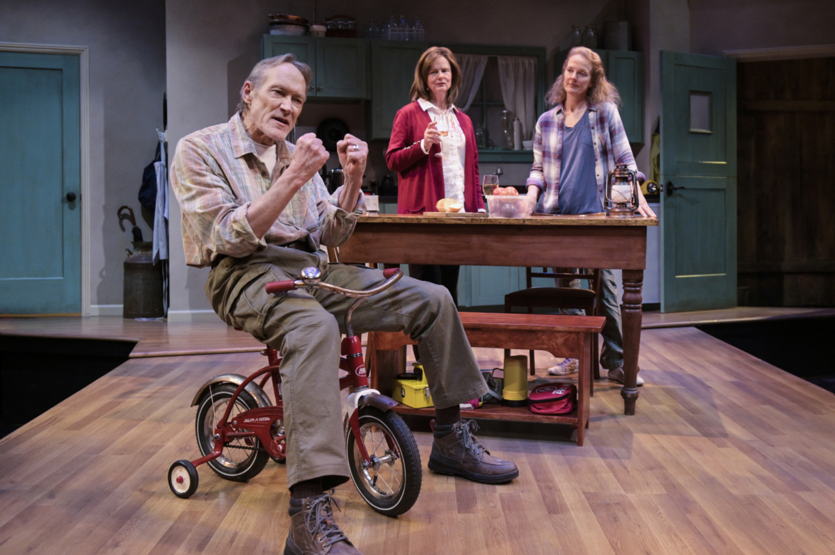 Three actors on a stage. The man in front is sitting on a child's bike