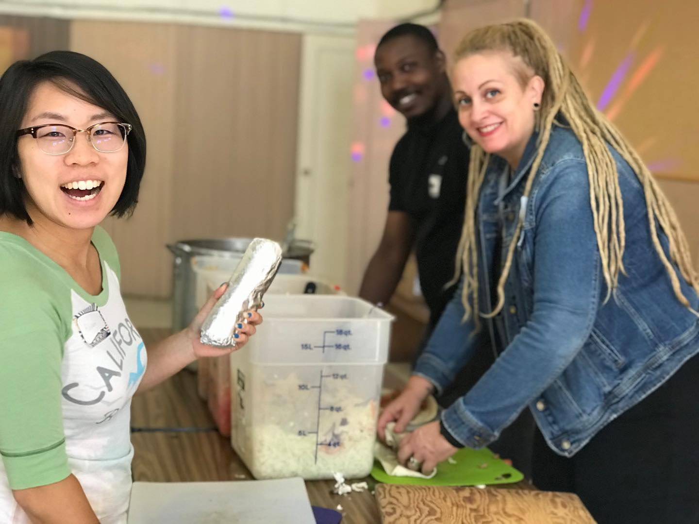 Volunteers with the East Oakland Burrito Roll prep, cook, wrap and deliver 500 vegan burritos to houseless individuals in East Oakland. Photo: East Oakland Burrito Roll