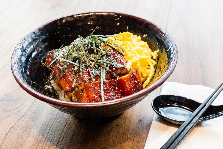 Unadon, grilled eel rice bowl, at Kokoro Donburi.