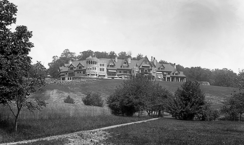 enormous mansion in the hills of Massachusetts circa 1910