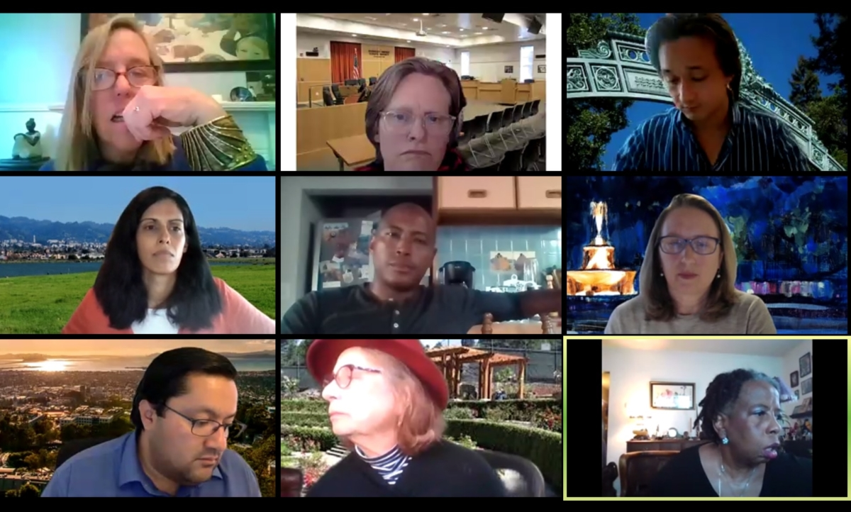 Grid of Berkeley city council members during virtual meeting