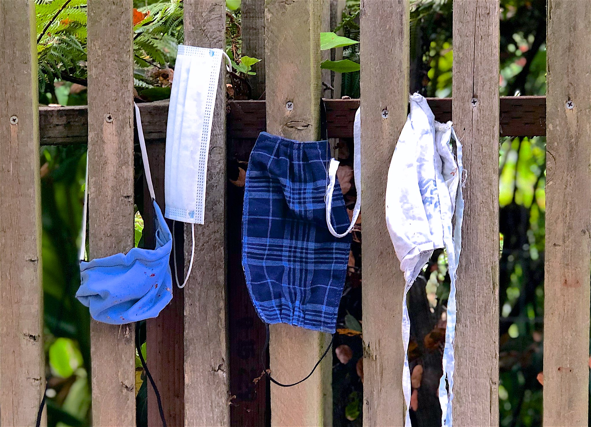found face masks hanging on wood fence