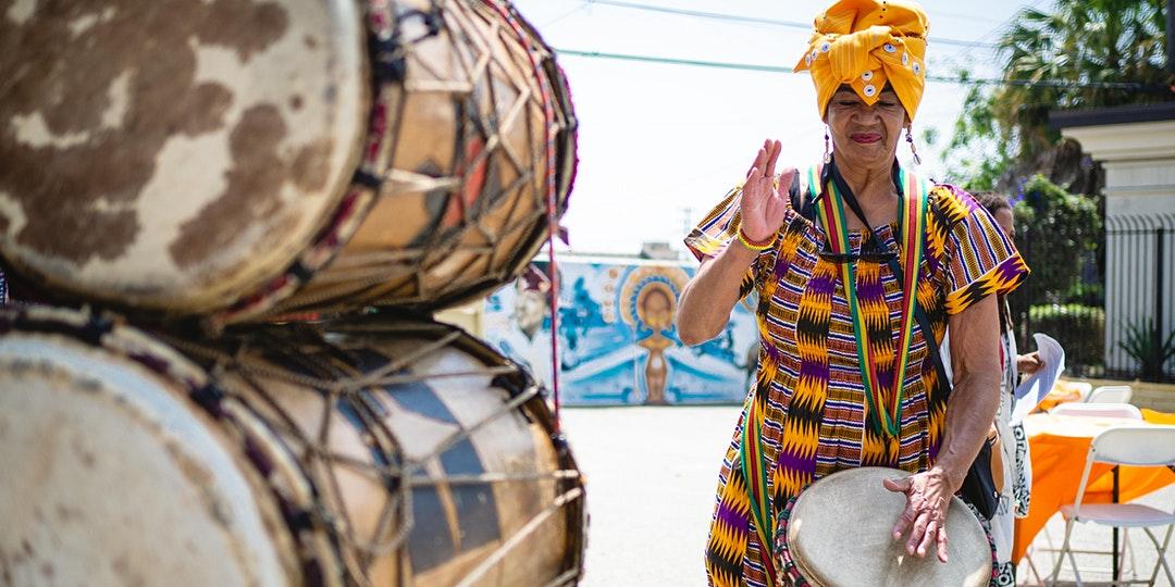 Female African drummer