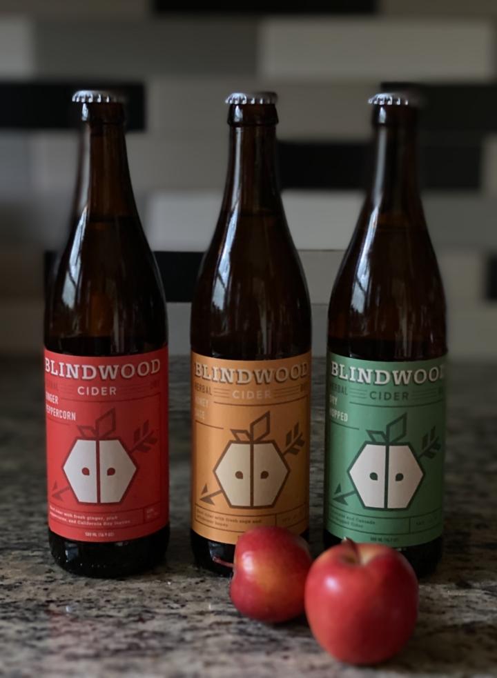 Blindwood Cider's three seasonal ciders. Photo: Blindwood Cider