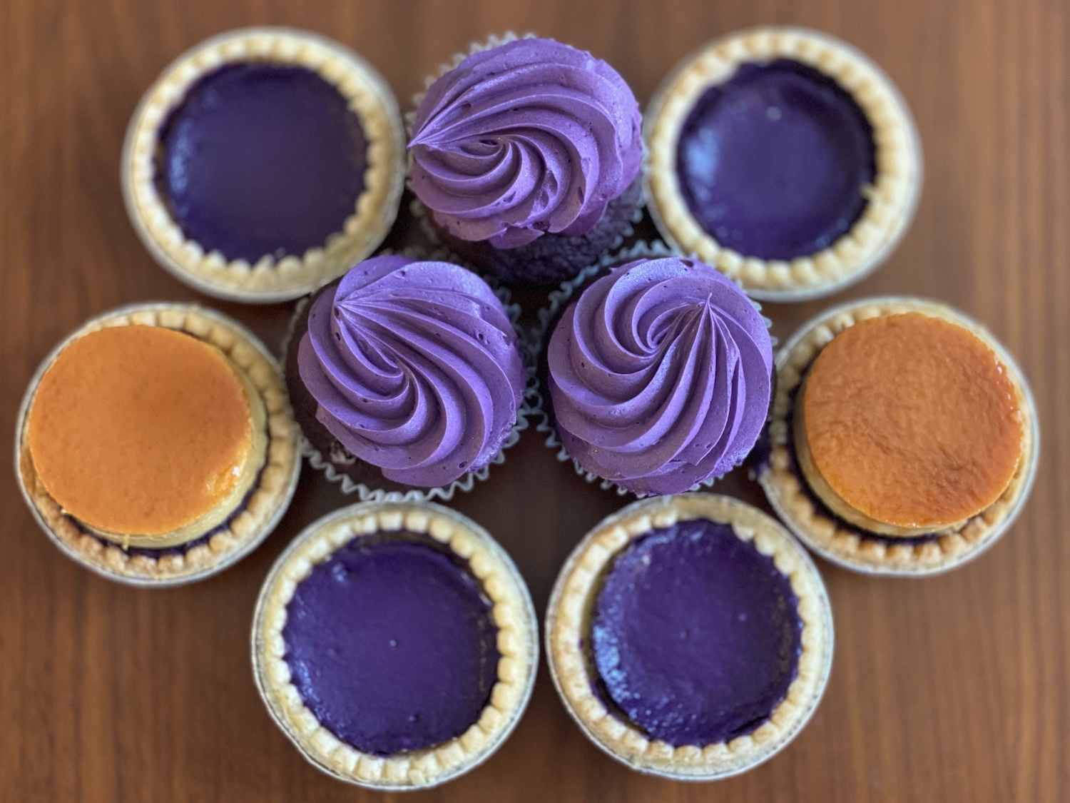 Ube cheesecakes, ube flan cheesecakes and ube cupcakes from Marley's Treats. Photo: Momo Chang