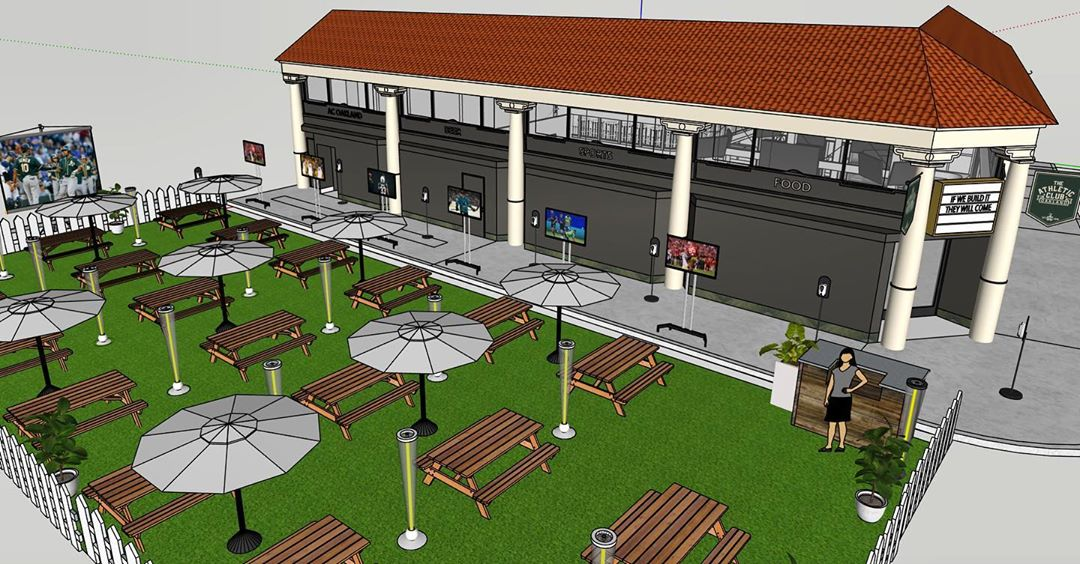 A rendering of a large outdoor seating area in front of Athletic Club, a sports bar in downtown Oakland, shows picnic tables, heat lamps, televisions set up right outside the bar.